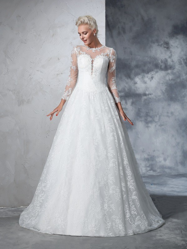 Fashion Ball Gown Lace Long Sleeves Jewel Long Lace Wedding Dresses