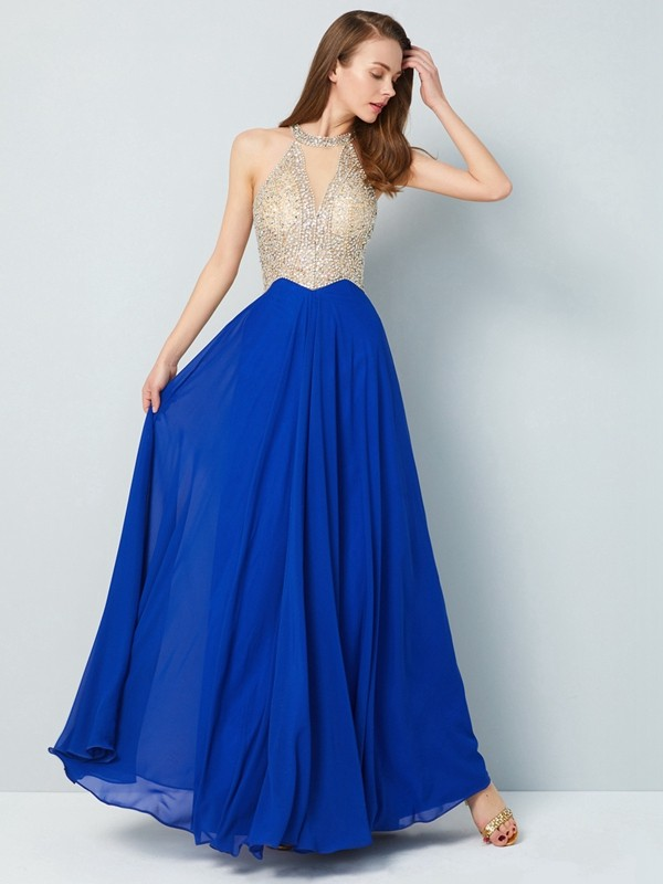 Fashion A-Line/Princess Sleeveless Floor-Length Scoop Crystal Chiffon Dresses