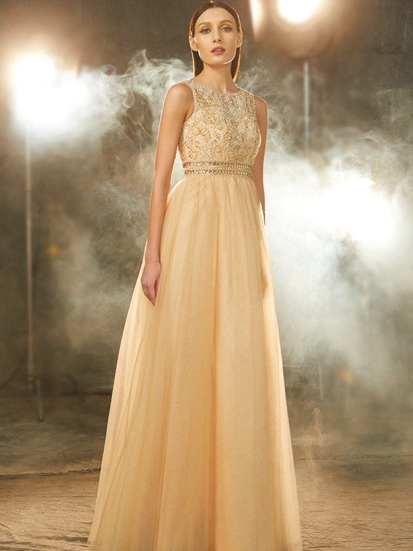 Stylish A-Line/Princess Beading Sleeveless Scoop Floor-Length Tulle Dresses