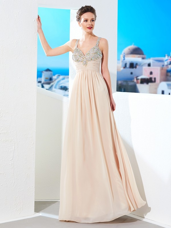 Fashion A-Line/Princess Straps Beading Spaghetti Floor-Length Chiffon Dresses