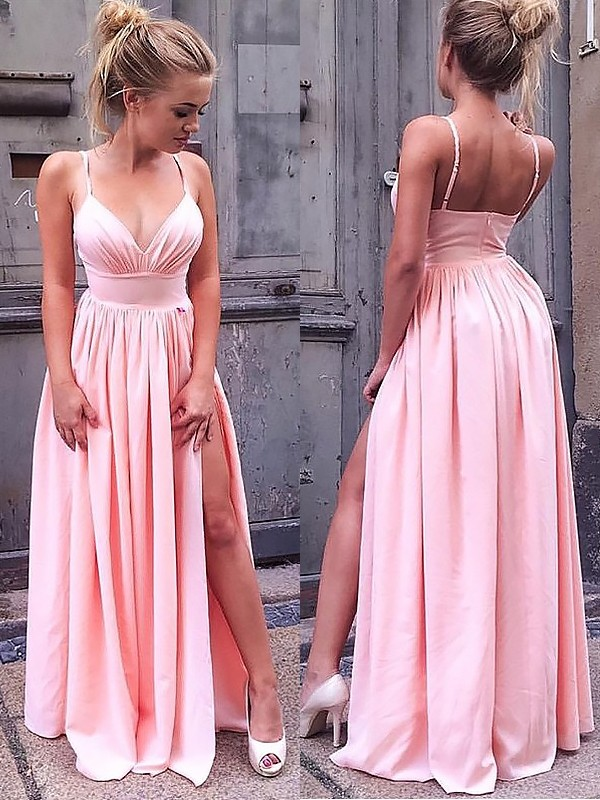 A-Line/Princess Sleeveless Straps Floor-Length Ruched Chiffon Dresses