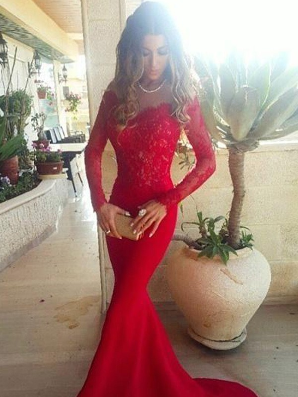 Stylish Trumpet/Mermaid Long Sleeves Lace Off-the-Shoulder Sweep/Brush Train Satin Dresses