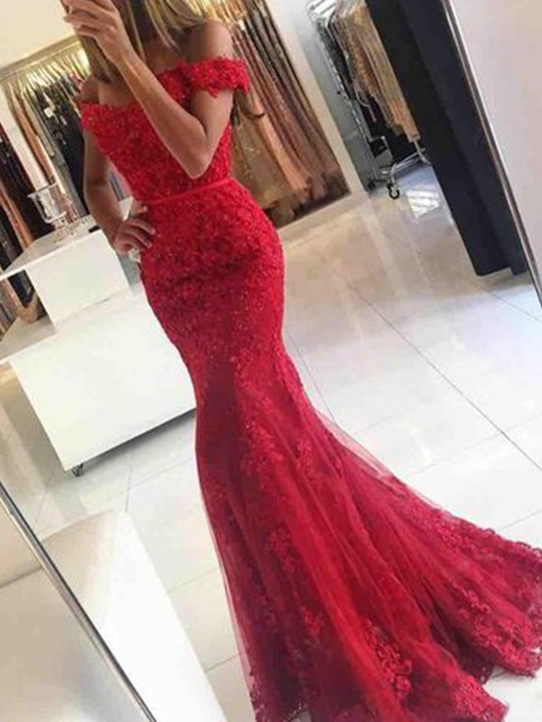 e159be2265d Trumpet/Mermaid Sleeveless Off-the-Shoulder Sweep/Brush Train Tulle Applique  Dresses