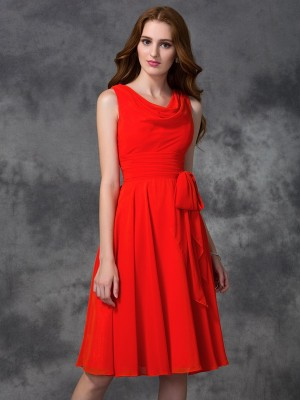 Fashion A-line/Princess Ruffles Sleeveless Scoop Short Chiffon Bridesmaid Dresses