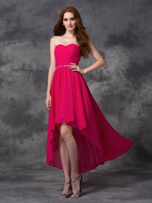 Fashion A-line/Princess Beading Sleeveless Sweetheart High Low Chiffon Bridesmaid Dresses