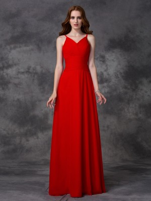 Stylish A-line/Princess Straps Ruffles Spaghetti Sleeveless Long Chiffon Bridesmaid Dresses