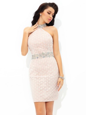 Stylish Sheath/Column Beading Sleeveless Halter Short Satin Cocktail Dresses