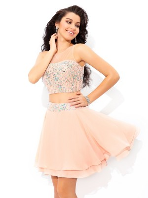 Fashion A-Line/Princess Beading Sleeveless SheerNeck Short Chiffon Two Piece Dresses