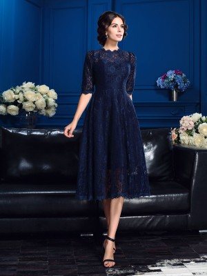 Stylish A-Line/Princess Lace 1/2 Sleeves Jewel Short Lace Mother of the Bride Dresses