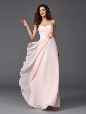 Fashion A-Line/Princess Hand-Made Flower Sweetheart Sleeveless Long Chiffon Bridesmaid Dresses