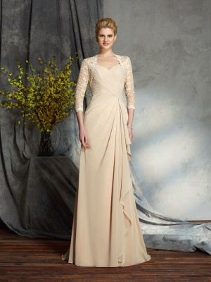 Stylish A-Line/Princess Lace 3/4 Sleeves Sweetheart Long Chiffon Mother of the Bride Dresses