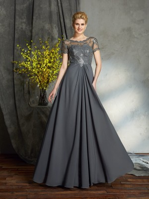 Fashion A-Line/Princess Applique Short Sleeves Scoop Long Chiffon Mother of the Bride Dresses