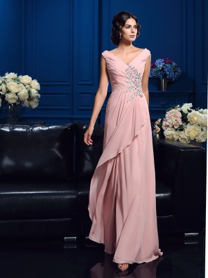 Stylish A-Line/Princess Beading Sleeveless V-neck Long Chiffon Mother of the Bride Dresses
