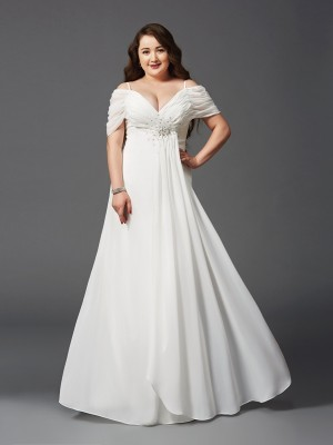 Stylish A-Line/Princess Ruched Short Sleeves Off-the-Shoulder Long Chiffon Plus Size Dresses