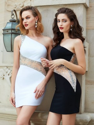 Stylish Sheath/Column One-Shoulder Beading Sleeveless Sleeveless Short/Mini Net Dresses