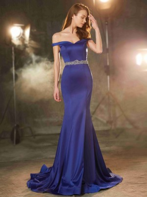 Stylish Trumpet/Mermaid Sleeveless Crystal Off-the-Shoulder Sweep/Brush Train Satin Dresses