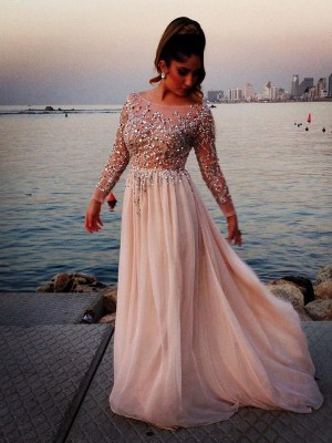Fashion Long Sleeves Bateau Beading A-line/Princess Sweep Train Chiffon Dress