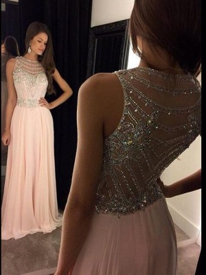 Stylish A-Line/Princess Sleeveless Chiffon Scoop Crystal Floor Length Dresses