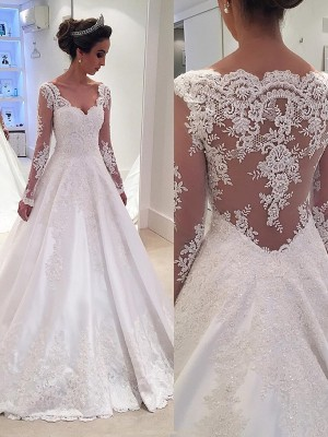 Fashion Ball Gown Long Sleeves Lace V-neck Court Train Satin Wedding Dresses