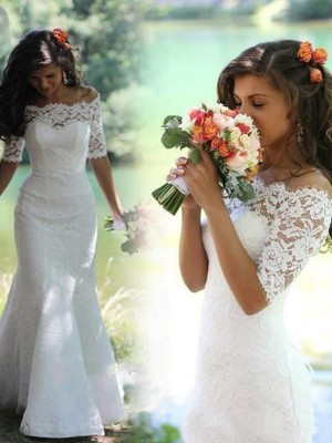 Stylish Trumpet/Mermaid 1/2 Sleeves Lace Off-the-Shoulder Sweep/Brush Train Wedding Dresses
