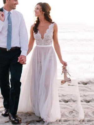 Fashion A-Line/Princess Floor-Length Sleeveless Scoop Lace Tulle Wedding Dresses