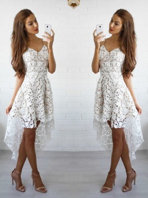 Stylish A-Line/Princess Spaghetti Straps Sleeveless Lace Short/Mini Dresses