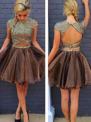 Fashion A-Line/Princess Scoop Beading Sleeveless Short/Mini Organza Two Piece Dresses