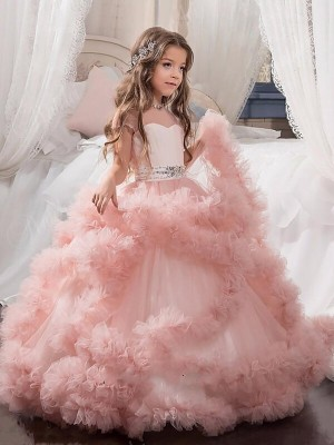 Fashion Ball Gown Floor-Length Crystal Short Sleeves Jewel Tulle Flower Girl Dresses