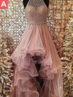 Ball Gown Halter Sleeveless Beading Asymmetrical Tulle Dresses