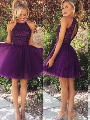 Stylish A-Line/Princess Sleeveless Beading Halter Short/Mini Tulle Dresses