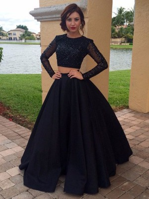 Fashion Ball Gown Scoop Floor-Length Long Sleeves Satin Beading Dresses