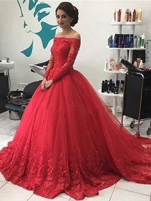 Fashion Ball Gown Long Sleeves Lace Off-the-Shoulder Tulle Court Train Dresses