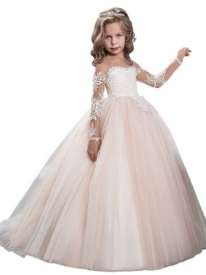 Fashion Ball Gown Tulle Sweep Train Long Sleeves Scoop Flower Girl Dresses