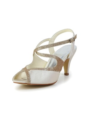 The Most Trendy Women's Satin Peep Toe Pumps Sandals Dance Shoes With Rhinestone