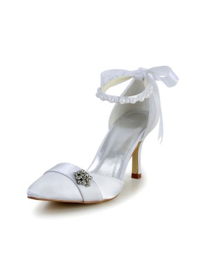 The Most Trendy Women's Satin Stiletto Heel Closed Toe Dance Shoes Pearl