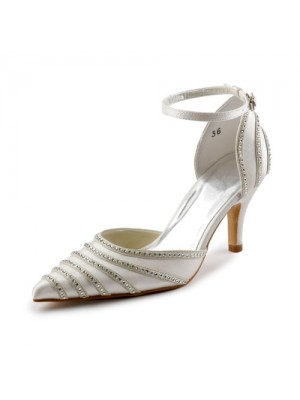 The Most Fashionable Women's Satin Stiletto Heel Closed Toe Pumps Dance Shoes With Buckle Rhinestone