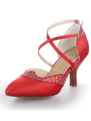 The Most Fashionable Women's Satin Closed Toe Stiletto Heel Buckle Dance Shoes