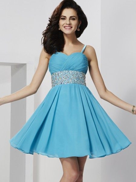 A-Line/Princess Spaghetti Straps Sleeveless Rhinestone Short Chiffon Homecoming Dresses