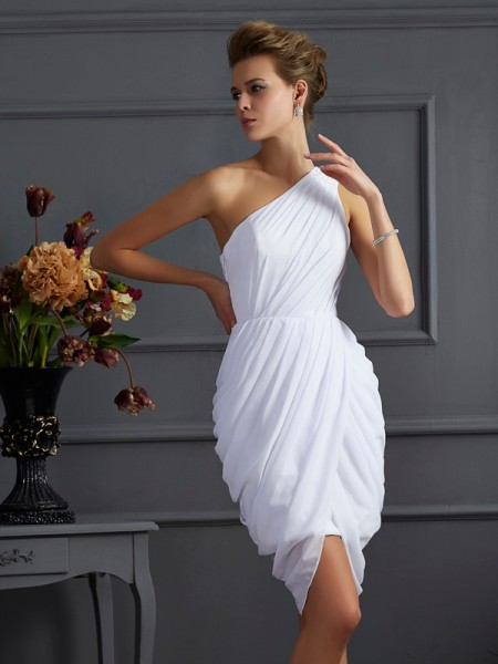 Sheath/Column One-Shoulder Sleeveless Pleats Short Chiffon Homecoming Dresses