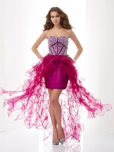 Sheath/Column Sweetheart Sleeveless Beading Short Elastic Woven Satin Homecoming Dresses
