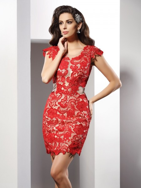 Sheath/Column Scoop Lace Sleeveless Short Elastic Woven Satin Cocktail Dresses