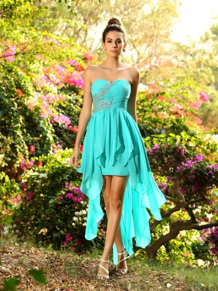 A-Line/Princess Sweetheart Beading Sleeveless High Low Chiffon Bridesmaid Dresses