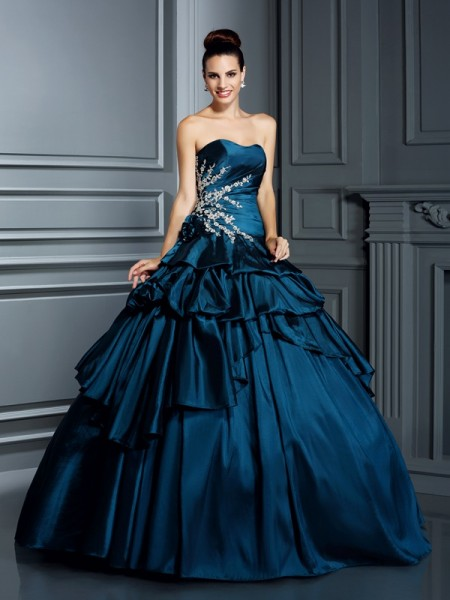 Ball Gown Strapless Beading Sleeveless Long Taffeta Quinceanera Dresses