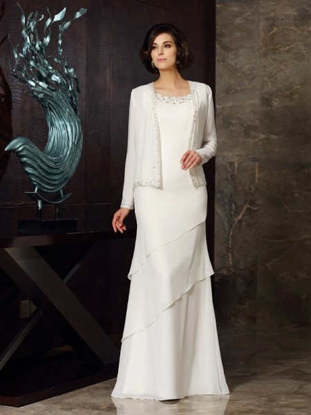 Sheath/Column Scoop Beading Sleeveless Long Chiffon Mother of the Bride Dresses