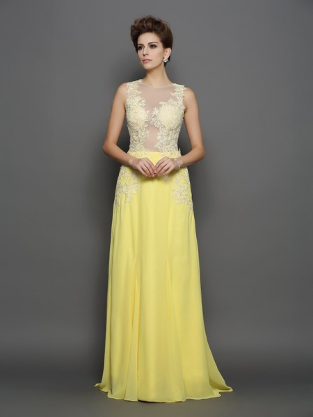 Stylish A-Line/Princess Lace Sleeveless Scoop Long Chiffon Dresses