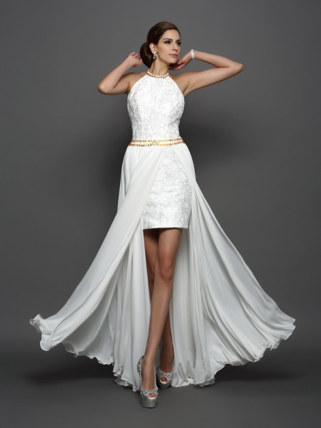 Fashion A-Line/Princess Lace Sleeveless High Neck Long Chiffon Wedding Dresses