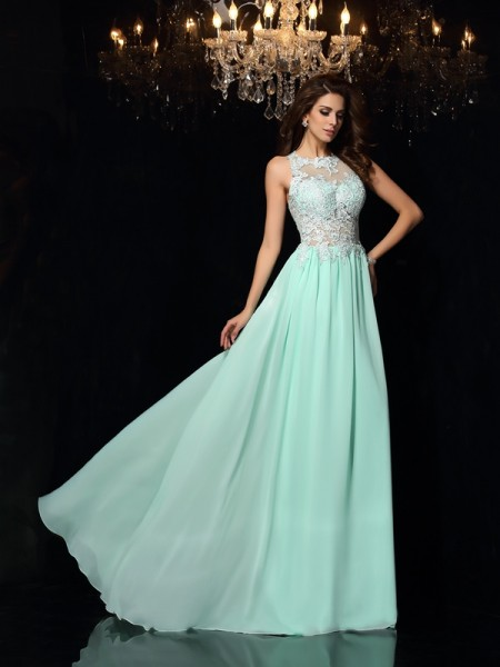 Fashion A-Line/Princess Applique Sleeveless High Neck Long Chiffon Dresses