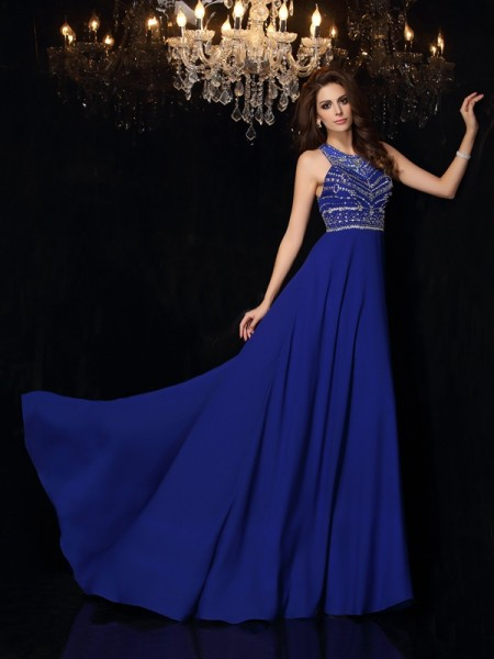 Fashion A-Line/Princess Beading Sleeveless High Neck Long Chiffon Dresses