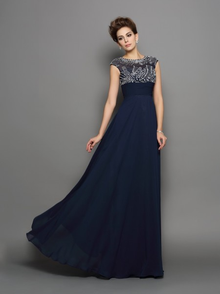 Stylish A-Line/Princess Beading Short Sleeves Scoop Long Chiffon Dresses