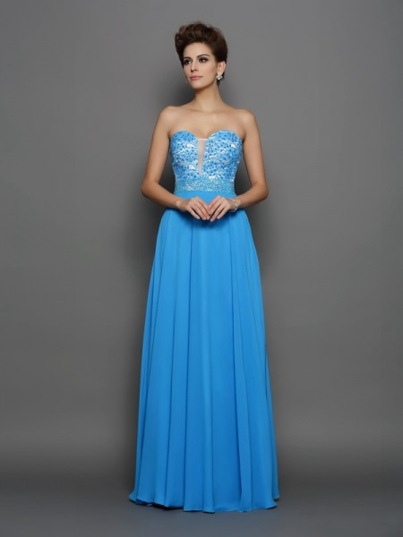 Fashion A-Line/Princess Applique Sleeveless Sweetheart Long Chiffon Dresses